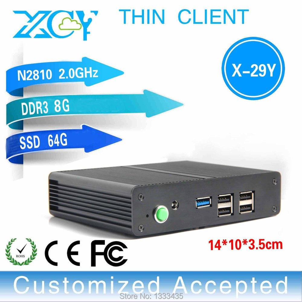Smaller space and energy X-29y n2810 2.0GHZ Dual core htpc sever computer tiny cloud terminal 8g ram 64g ssd(China (Mainland))