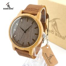 Bamboo Watch Men Luxury Brand BOBO BIRD Quartz Leather Watch Casual Wristwatch Male Clock relojes hombre Relogio Masculino