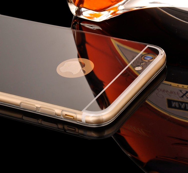 Rose Gold Luxury Bling Mirror Case For Iphone 6 6S Plus 5.5 Clear TPU Edge Ultra Slim Flexible Soft Cover For Iphone6 6S 4.7inch