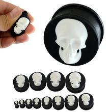 4-25mm White Skull Silicone Ear Plugs Tunnels Organic Gauges Punk Style Flesh Hole Plugs Jewelry Ear Tunnel Plug Body Piercing