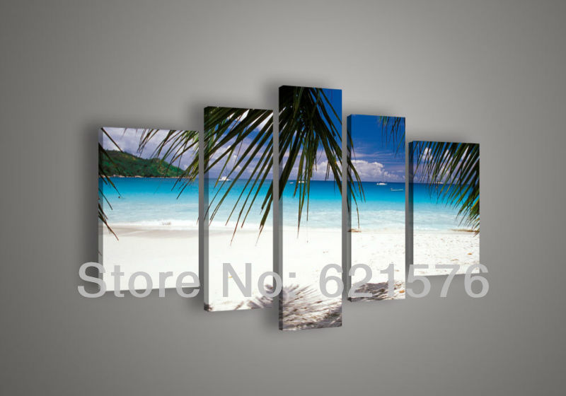 Hand-painted Hi-Q hanging wall art home decor seascape group oil painting on canvas Ocean white argent beach 5pcs/set framed