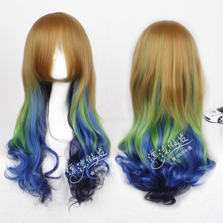Гаджет  cheapest brown mix green gradients Harajuku cosplay wig  None Изготовление под заказ