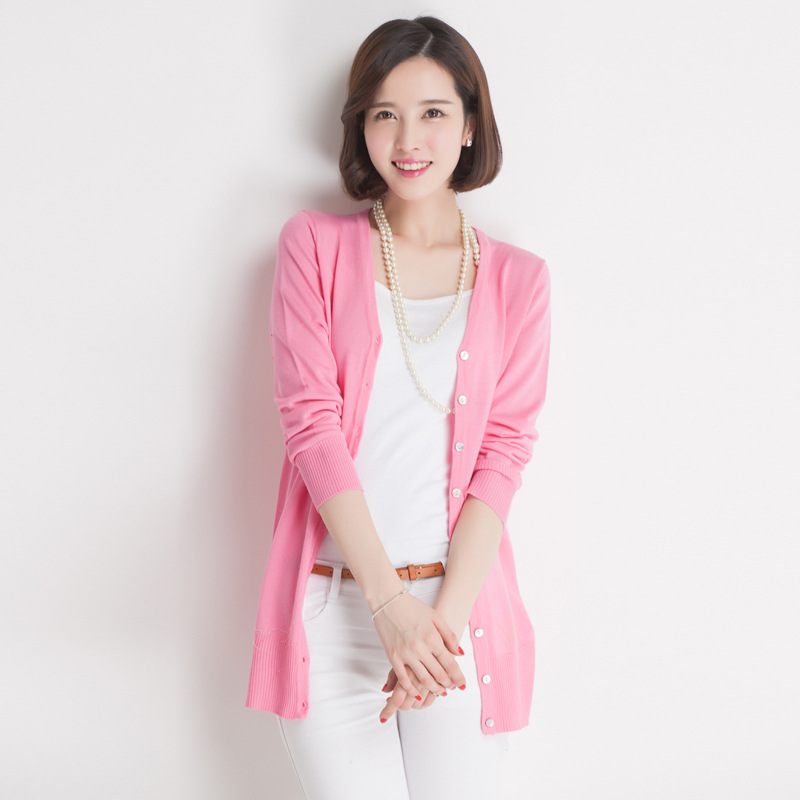 2015 Korean Women Fall Candy 16 Color Quality Small Luxury Brand Knitted Cardigan Long Sleeved Shirt Air Conditioning(China (Mainland))
