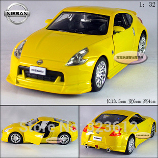 Free shipping New 1:32 Nissan 370Z Coupe Alloy Diecast Vehicle Model Car Toy Collection With Sound&Light Yellow B253(China (Mainland))