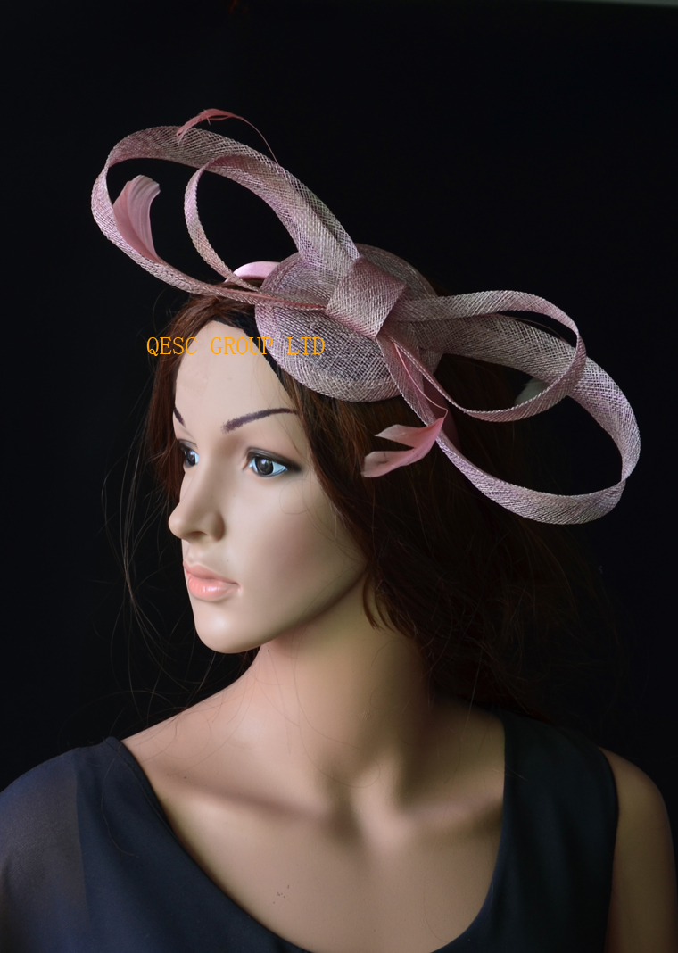Heather pink sinamay fascinator with big sinamay bow&feathers for Tea Garden party Royal Races Kentucky derby.(China (Mainland))