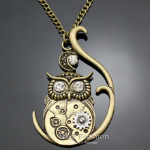 Fab Silver 3D Owl Moon Watch Clock Hand Gear Cog Steampunk Necklace Fancy Dress  Jewelry Free Shipping
