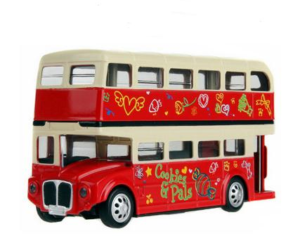 1:32 Scale Alloy Double Layer Bus Car Model Bus Toy With Sound and Light Music Back To Power Toys For Kids(China (Mainland))