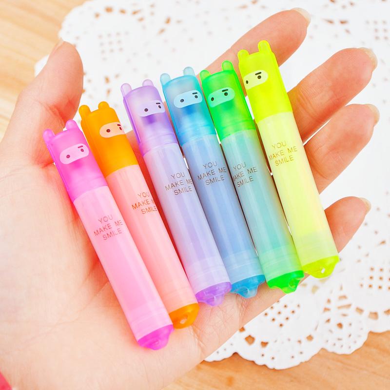 6PCS/Set Rabbit Mini Highlighter Pen Marker Pens Kawaii Stationery Material Escolar Papelaria Writing School Supplies(China (Mainland))