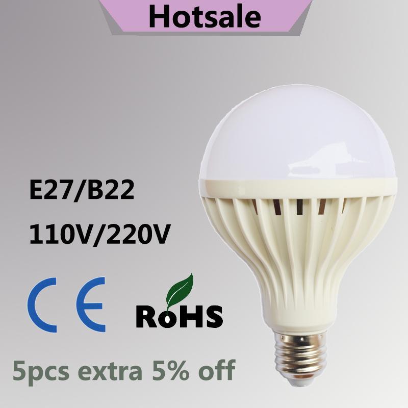 led bulb SMD 5730 energy saving light led lamps B22 led lights 3W 5W 7W 9W 12W 15W 18W E27 110V 220V/230V large screw bulb(China (Mainland))