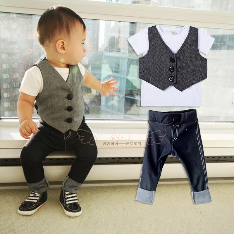 New summer fashion gentleman toddler infant baby school boys suit Maga vest+pant outfit clothing 5pcs/set free shipping xz075<br><br>Aliexpress