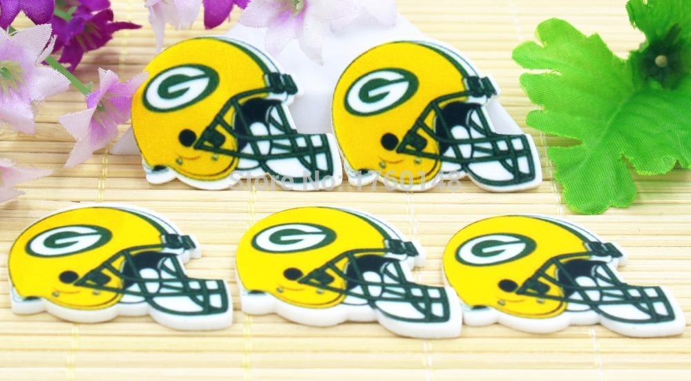 DIY planar Cartoon Green Bay Packers football helmet Figurine holiday decoration flatback resin hair accessories Resin Crafts(China (Mainland))