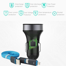 ROCK Turbo Bullet Qualcomm Quick Charge 2.0 USB Car-Charger For Meizu M3 Note Meizu MX5 And Other phones USB Car Charger+Cable