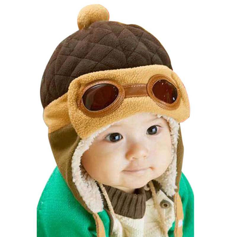 Children's glasses baby hat baby cap baby hat ear cap baby winter models thick section 2016 Air Force cap hat --MKE058 PR49(China (Mainland))
