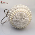 Cheap New Women Hand beaded Handbag Exquisite Pearl Diamond Round Ball Evening Bag Party Mini Tote