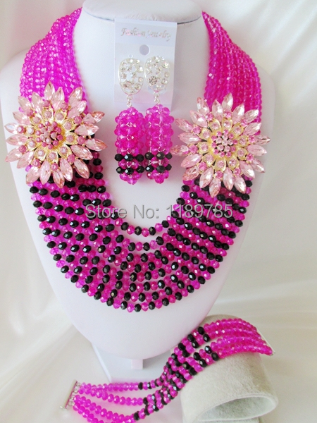 Fashion Nigerian African Wedding Beads Jewelry Set ,Fuchsia  Crystal Necklace Bracelet Earrings Set A-7143<br><br>Aliexpress