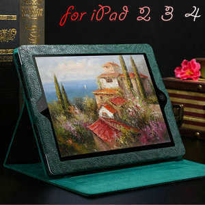 Phoenix Pattern PU Leather Case for iPad 4 3 2 Smart Cover With Stand Flip Luxury Fashion Protective Shell Black Brown(China (Mainland))