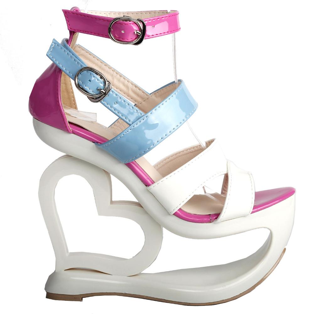 ซื้อ LF40203เซ็กซี่สีขาวสีชมพูสีฟ้าS Trappyหัวใจส้นลิ่มรองเท้าแต่งงานSz 4/5/6/7/8/9/10