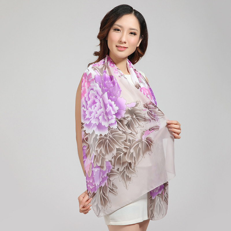 160*50cm,2015 Brand New Spring Summer Woman Flower Print Chiffon Scarves Silk Towel Ladies Long Wrap Beach Scarf Voile Shawl By6(China (Mainland))