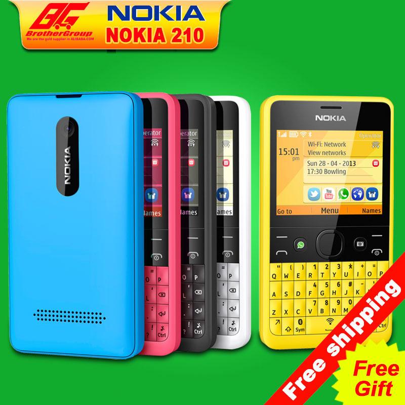 Unlocked Nokia Asha 210 Mobile Phone Single/Daul SIM Card 2mp camera keyboard WiFi GSM cell phones Free shipping(China (Mainland))