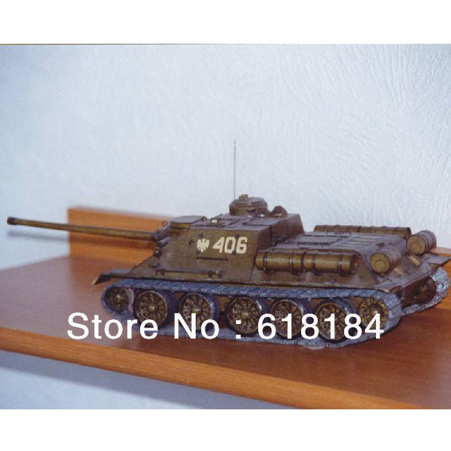 Free shipment diy toys paper model Tanks 38CM long,1:25 Russia SU-100 Tank destroyer army vehicle models 3d puzzles for adults(China (Mainland))