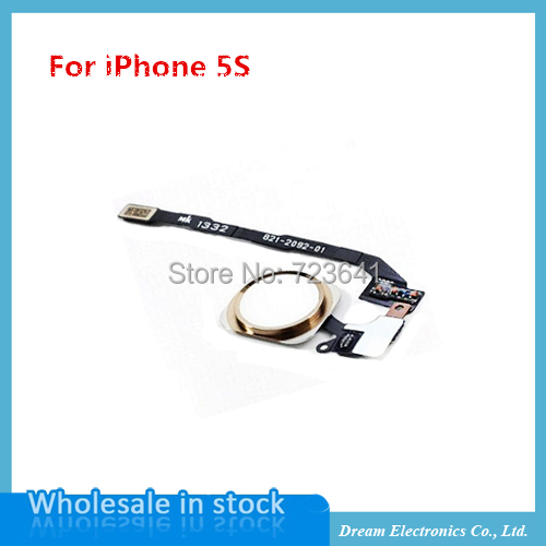 10pcs/lot NEW Home Button Flex Ribbon Cable Assembly For iPhone 5S black/white/gold Repair part Free shipping(China (Mainland))