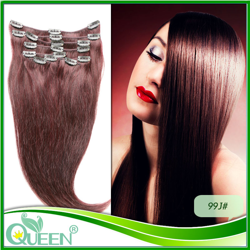 8pcs/set 99J Raw Indian Virgin Clip in Hair Straight 6A Grade Clip in Hair Extensions Double Strong Weft Full Head Free Shipping(China (Mainland))