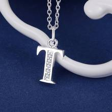 Buy Letter T bling zircon silver plated Necklace Silver Pendant Jewelry /HLZWASIU IGZLXUYU for $1.26 in AliExpress store