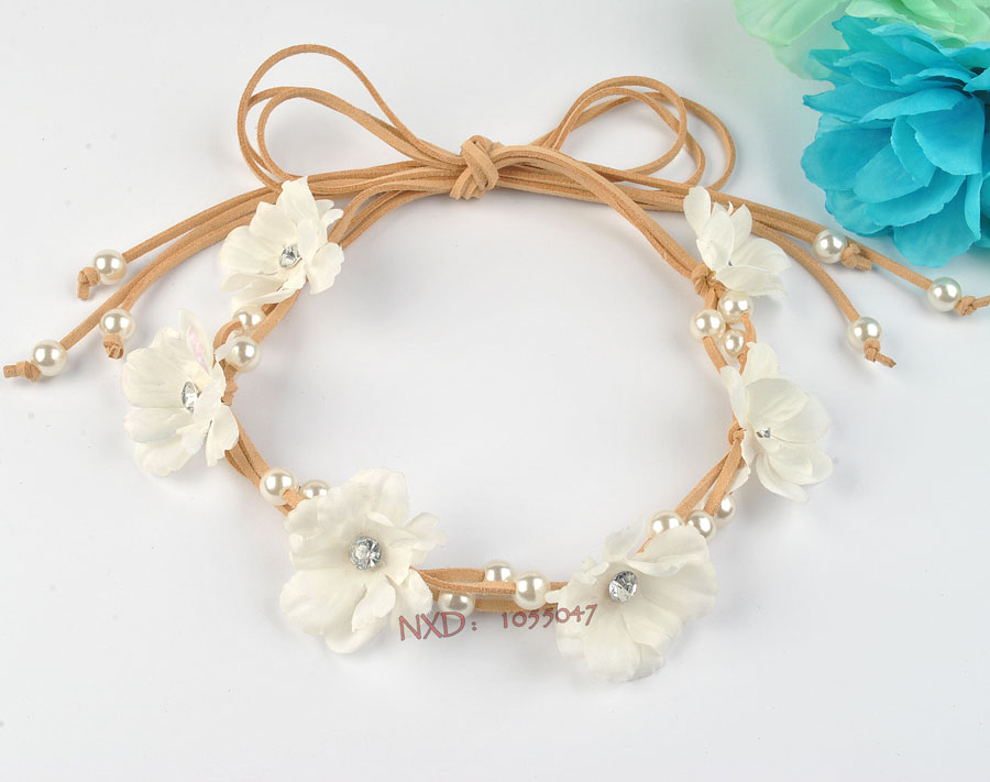 New arrival bride white flower headband with imitation pearl fashion hair accessories for girl/woman(China (Mainland))