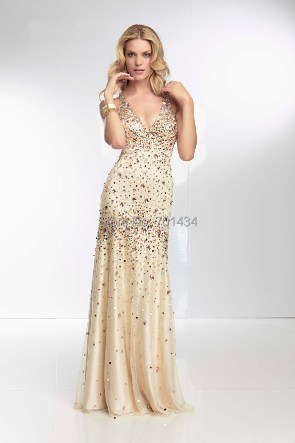gold crystal evening dress with sequins long luxury prom