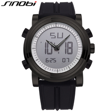Original SINOBI Black Sport Watches For Men LED Digital Display Mens Watches Men Chronograph 24 Hours Silicone Band Watch Male