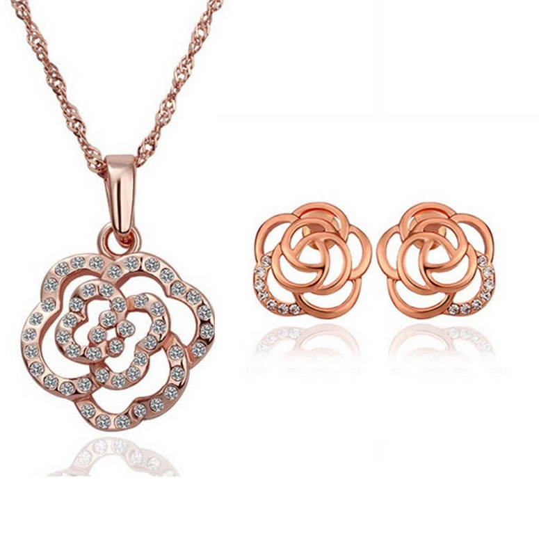 Rose Gold Plated Rhinestone Necklace Earrings for Women ...