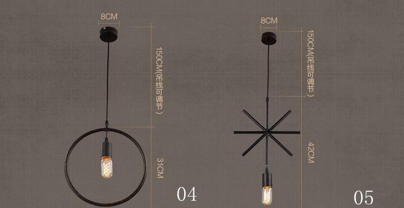 American rural Creative Geometry Lighting Minimalist loft chandelier Cafe decoration chandelier A5