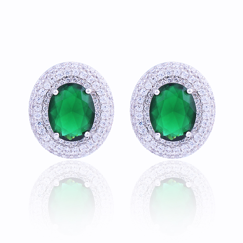 Luxury Green Stone Stud Earrings for Women Multi Prongs Platinum Plated Oval Shape Earrings with AAA Zircon(China (Mainland))