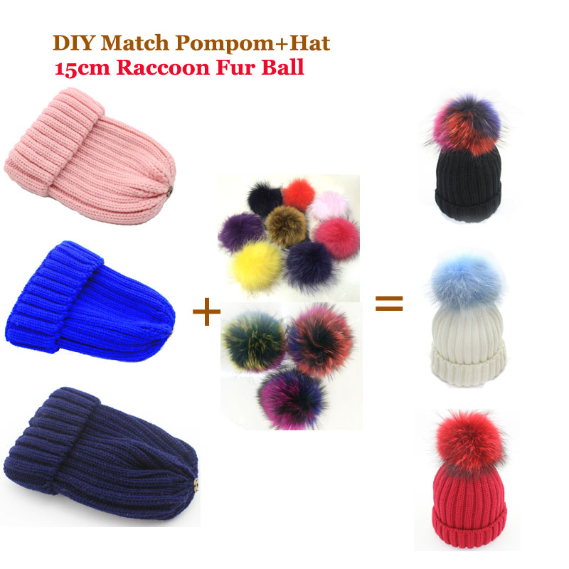 2016 Women Winter DIY Match Pompoms and Hats Raccoon Fur Hats 100% Real Big 15cm Fur Pompom Beanies Cap Multi-color Fur Pom poms(China (Mainland))