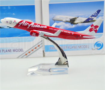 Air Asia plane model Boeing 737 16cm airplane models child Birthday gift toys Free Shipping alloy metal model plane(China (Mainland))