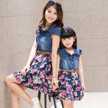 Family Set Fashion Denim Dress Clothes for Mother and Daughter Family Clothes Girls Dresses Clothing, DR01