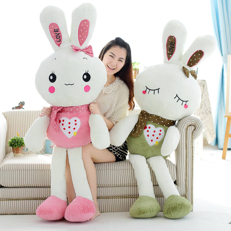 80cm Cute love embroidery Rabbit Baby Soft Plush Toys Plush high quality Rabbit Stuffed Toys Best Gift for Kids(China (Mainland))