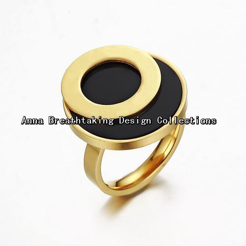 New Stylish Designer Big Surface Ring,Distinctive Double Circle Style Women Ring.In 18K Yellow Gold Plated Metal With Black Onyx(China (Mainland))