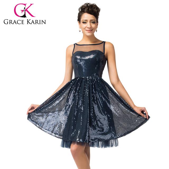 Блестящий грейс карин рукавов темно-синий коктейльное платье длиной до колен с коротким ...