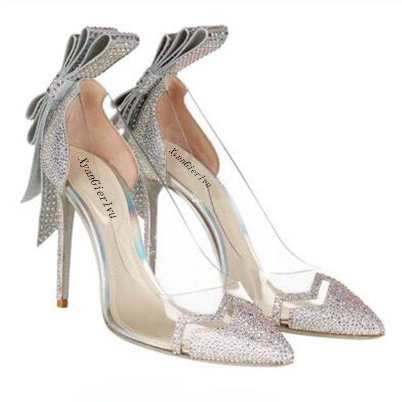 2016 New Transparent plastic glass Pointed high heeled shoes Female diamond wedding shoes Silver Crystal Bridal shoes pumps(China (Mainland))
