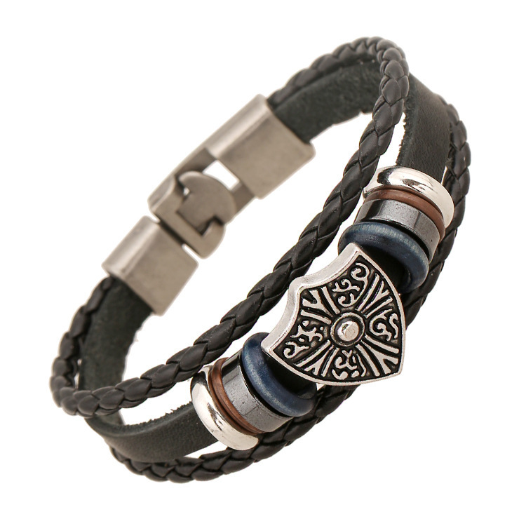 Punk Original Bead Cowhide Bracelet New pattern Europe and the United States Export trade Ornaments Punk leather Bracelet(China (Mainland))