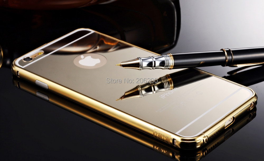 """Luxury Case For Iphone 6 Plus 5.5"""" Ultrathin Mirror Gorilla Glass and Metal Aluminum Frame Cases for Iphone6 Plus(China (Mainland))"""