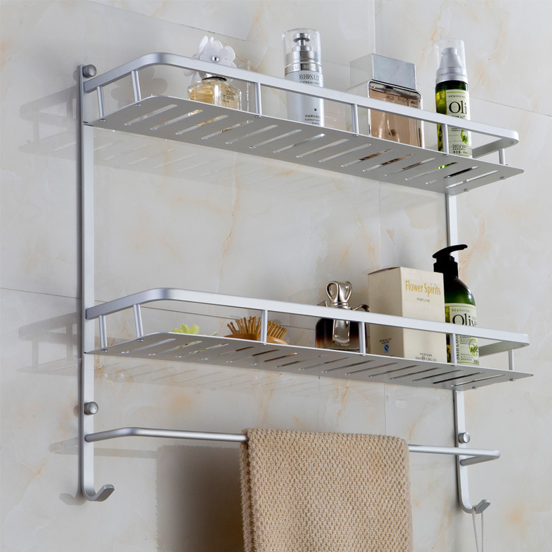 Bathroom Rack One/Two Layers with Hock Bath Towel Rack Holder Wall ...