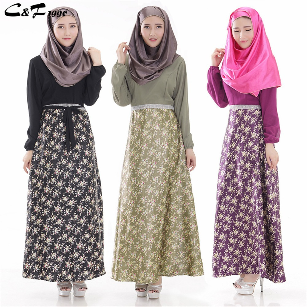 Free Shipping New Female Long Sleeve Muslim Abaya Dress