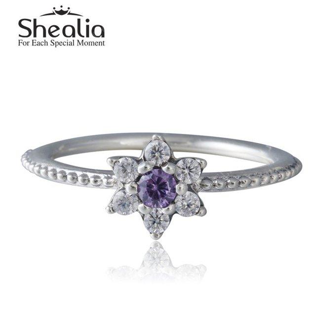 Фиолетовый и ясно циркон цветочный кольца для женщин 2016 весной новый стерлингового серебра 925 Forget me not обручальные кольца ювелирных украшений