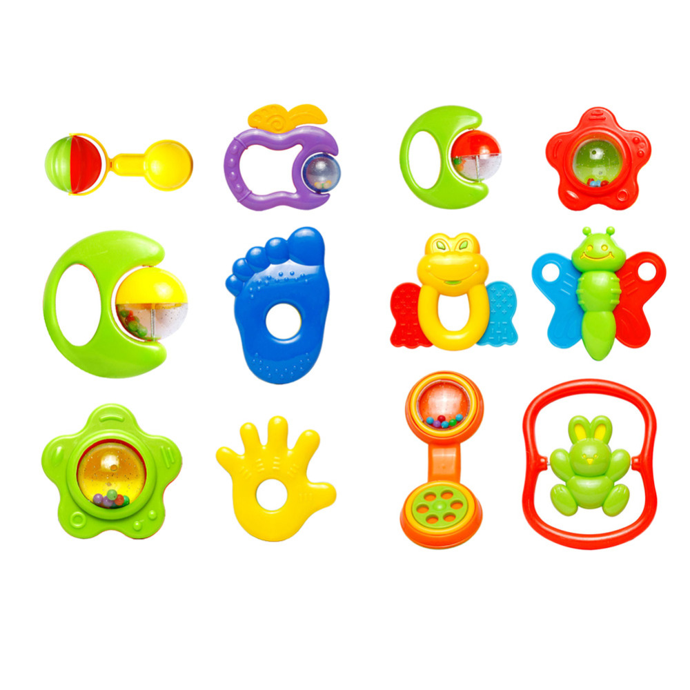 New Baby toys Kids Rattle Toddler Music Toy Plastic Hand Jingle Shaking Bell 6X Brand high quality free shipping(China (Mainland))