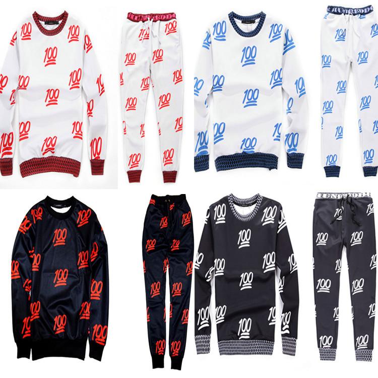 2015 new men/women's sport jogging suits print emoji 100 fashion tracksuits sweat shirt + pants clothing set joggers - J&G Trading Co., Ltd store
