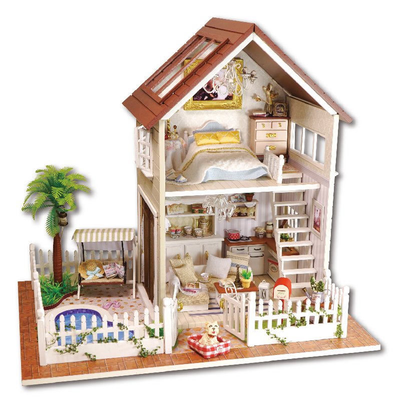 Home Decoration Crafts DIY Doll House Wooden Doll Houses Miniature DIY dollhouse Furniture Kit Room LED Lights Gift A-025(China (Mainland))