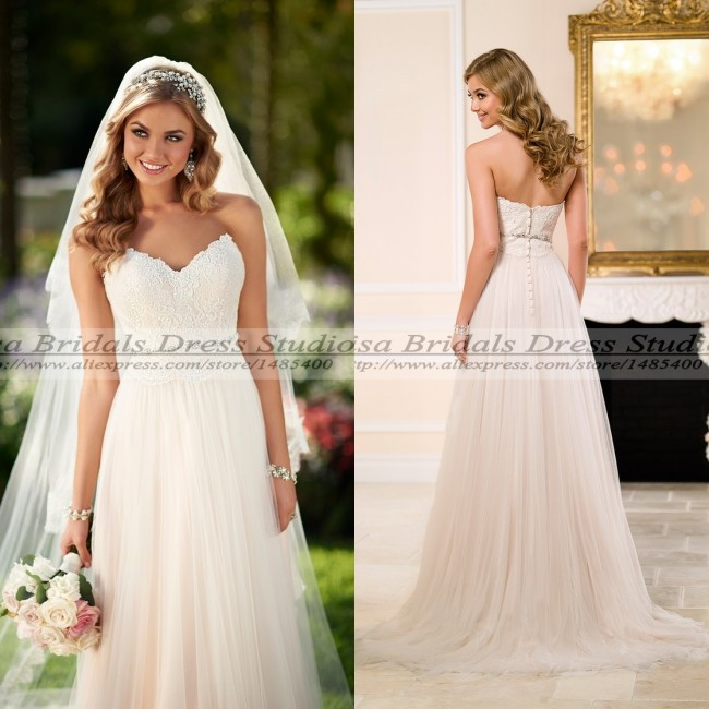Vestido De Noiva 2015 Cheap Vintage Lace Wedding Dress