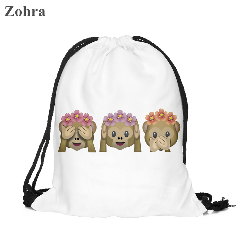 Zohra Classic Fashion Monkey Emoji Best Friend Forever Printing Women Travel Mochila Backpack Men s Gym